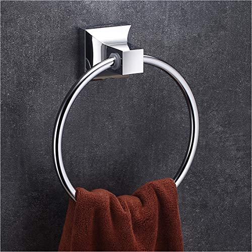 Wangel Handtuchring Handtuchhalter für Handtücher, Wandhalterung mit Schrauben, Edelstahl und ABS-Kunststoff, Verchromt -
