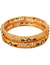 Radha's Creations Antique Type One Gram Gold Plated Pair Of Bangles For Women And Girls