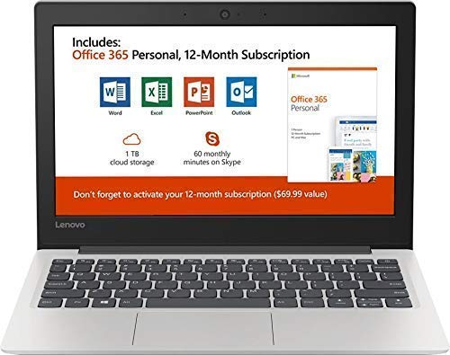 """New Lenovo 130S 11.6"""" HD Laptop, Intel Celeron (2 core) N4000 1.1GHz up to 2.6GHz, 4GB Memory, 64GB SSD, Webcam, Bluetooth, HDMI, USB 3.1, Windows 10, Office 365 Personal 1-Year Included"""