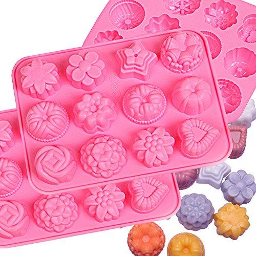 IHUIXINHE Lebensmittelqualität Silikon Antihaft-Eiswürfelform Gelee, Kekse, Schokolade, Süßigkeiten, Cupcake-Backform, Muffinform (Blumen 3 Stück) - Silikonform