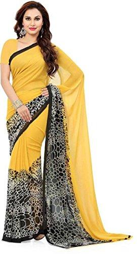 Shyam Export Women's Premium Georgette Printed Saree (Colour-Yellow Black-Free Size)