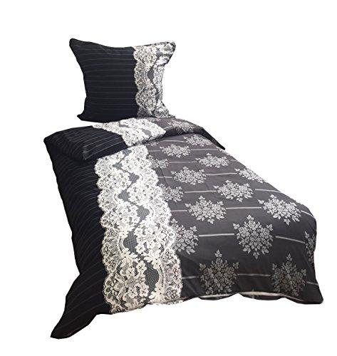 4 teilige Bettwäsche Mikrofaser 2 x 135x200 cm Bettbezug + 2 x 80x80 cm Kissenbezug schwarz grau klassisch gestreift barock mit Reißverschluss