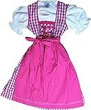 Süßes Baumwoll Kinderdirndl KATINKA kariert, 3tlg. Komplettset in verschiedenen Ausführungen, Größen:116;Farben:pink - weiss