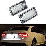 Ralbay 2pcs Xenon White 18-SMD High Power License Plate LED Lights Assembly for Audi A3 S3 A4 S4 A6 S6 A8 S8 Q7 RS4 RS5 RS6
