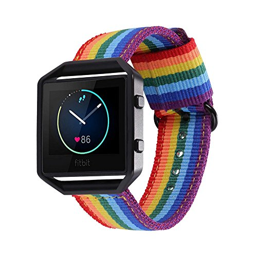 Bandmax Rainbow Band for Fitbit Blaze, Comfortable Nylon Weave Replacement  Fabric Wrist Strap for Fitbit Blaze Smart Watch (Black)
