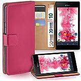 moex Sony Xperia M2 | Hülle Pink mit Karten-Fach 360° Book Klapp-Hülle Handytasche Kunst-Leder Handyhülle für Sony Xperia M2 / M2 Dual / M2 Aqua Case Flip Cover Schutzhülle Tasche