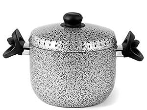 Home Salt N'Pep Pastaiola Antiaderente, Alluminio, 4 Litri, Nero/Grigio, 20 cm