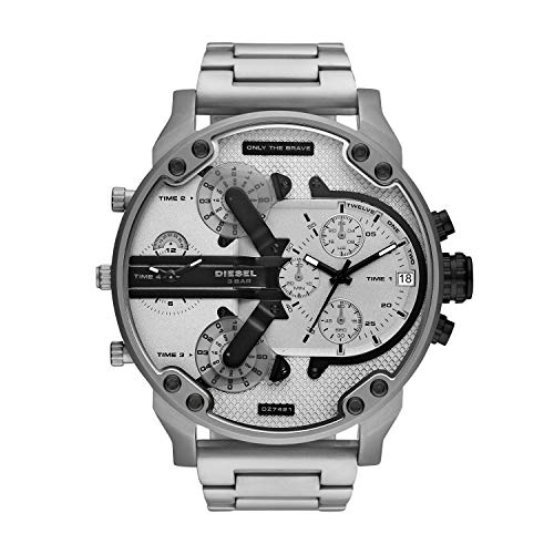 Diesel DZ7421 MR. Daddy 2.0 Chronograph Uhr Herrenuhr 3 bar Analog Datum Silber