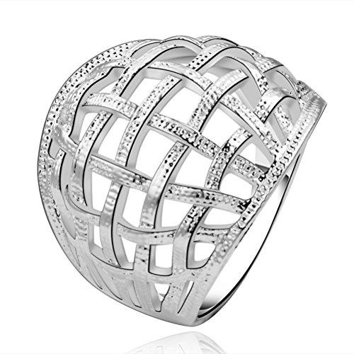 sunifsnow Frauen Silber vergoldet Cute Mesh Netzwerk Charm einfach retro Ringe