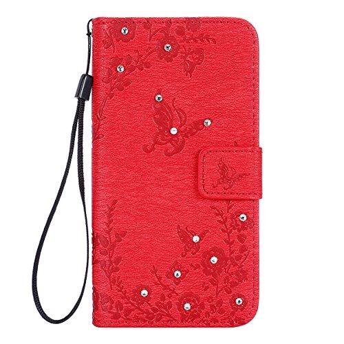 ISAKEN Cover per Samsung Galaxy S5 Neo I9600 - Tinta Unita Flip Wallet Bling Glitter Diamante Cover in PU Pelle Portafoglio Custodia con Supporto di Stand/Carte Slot, Diamante: Rossa