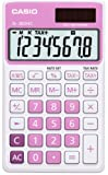 Casio SL-300NC-PK Taschenrechner in Trendfarbe, 8-stelliges Extra Big LC-Display, pink