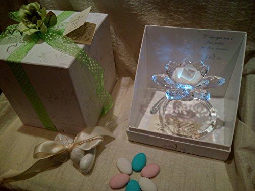 Bomboniere matrimonio battesimo comunione tralcio fiore con luce led swarovski contattateci per quantita'!