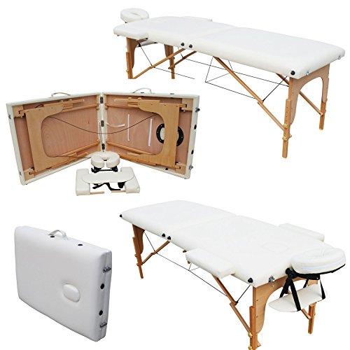 mervy–Massageliege klappbar, 2Zonen aus Holz mit Panel Reiki + Zubehör und Transporttasche–2Farben–ce standard * weiß *