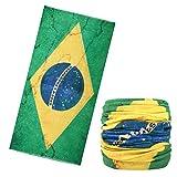 MoKo Bandana Sportivo per Uomini e Donne, Multiuso Sciarpa Senza Cuciture Sport Unisex Versatile Traspirante, Bandiera della Brasile