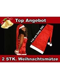 Lot de 2 Bonnet de Père Noel Noël long environ 110 cm (wm-06) Coloris rouge et blanc. avec 2 pompons et 2 grelots l''accessoire festif idéal pour les fêtes de fin d''année pour se déguiser ou marquer l''événement pour noel'
