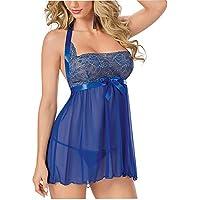 YARBAR Garza Pizzo Vestaglia Blu Notte reggiseno sexy delle donne del vestito Temptation splicing notte