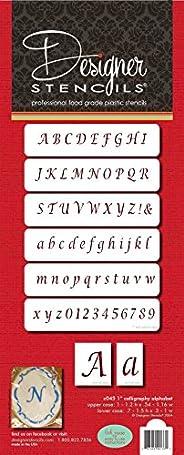 Designer Stencils C045 Alphabet Cake Stencil, Beige/semi-transparent