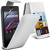(Weiß) Sony Xperia E1 Faux Credit / Debit Card Leder Flip Skin Case hülle Cover & LCD Screen Protector Guard exklusiv für Spyrox