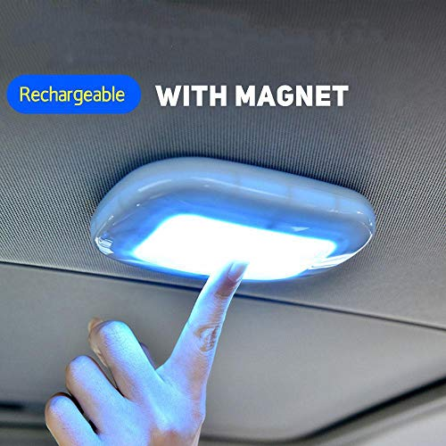 Price comparison product image Nachtlicht Txxzn Universal USB Wiederaufladbare Led Leselicht Tragbare Auto Interior Dome Dach Decke Lampe Magnet Adsorption Led Nachtlicht Schwarz eisblau