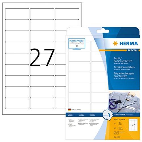 Herma 4411 Namensetiketten ablösbar (63,5 x 29,6 mm) weiß, 675 Namensaufkleber, 25 Blatt DIN A4, selbstklebende Textil-Namensschilder bedruckbar