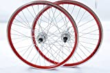 "PAIR WHEELS 24"" MTB DISC BRAKE HUB Q/R RED DOUBLE WALL 507 X"