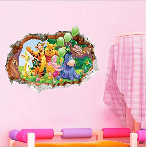 Cartoon Winnie Pooh Home Schlafzimmer Decor 3D Loch Wandaufkleber Für Kinderzimmer Pvc Wandtattoo Kindergarten Party Supply Kunst Tier Poster 50 * 70 Cm Ungefähr