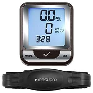 MeasuPro Ordinateur sans fil de vélo, compteur de vitesse et moniteur de fréquence cardiaque