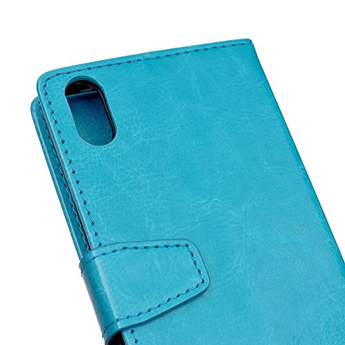 Crytal Grain Texture Solid Color Premium PU Leder Folio Stand Case Geldbörse Tasche Tasche mit Card Slots für iPhone X ( Color : Rose ) Blue