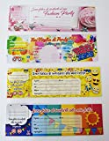 takestop® Set 45 Pezzi INVITO INVITI Compleanno Femminili in Carta 16x7 cm Biglietto Biglietti per Festa Party Fantasia Casuale