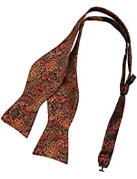 EBA2B01D Dark Red Khaki Paisley Woven Microfiber Self-tied Bow Tie France Shopstyle Bow Tie Comfort Presents By Epoint