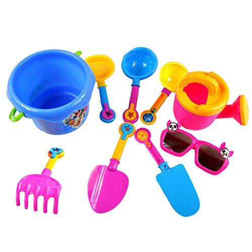 Sharplace 9er/Set Kinder Strand Sand Sandkasten Spielzeug Set, Inkl. Eimer, Gießkanne, Gläser, Sandschaufel, Laddl, Trichter usw.