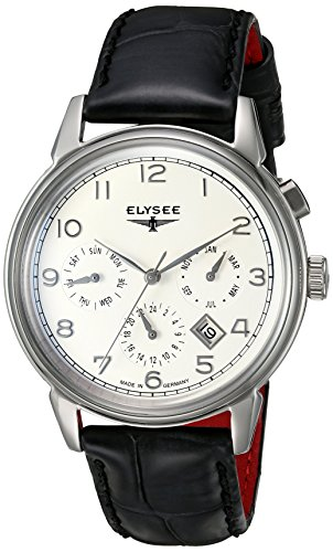 ELYSEE Made in Germany Vintage Calendar 80555 40mm Automatic Stainless Steel Case Black Calfskin Synthetic Sapphire Men's Watch