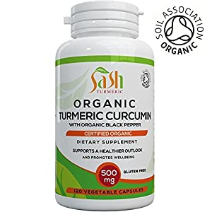 Organic Turmeric capsules with Piperine (Black Pepper) 120 Veg Capsules by SASH Turmeric | Turmeric Curcumin with Piperine for great absorption | Certified Organic Supplement | Gluten and Dairy free