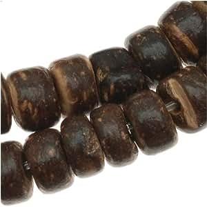 Perles rondelles en coque de noix de coco marron foncé – diamètre 5,5 mm – mèche de 15,5 pouces