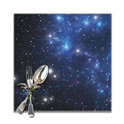 Table,outer space star nebula astral cluster astronomy theme galaxy mystery Non-Slip Insulation Placemat Washable PVC Polyester for Kitchen Banquet Party,Set of 6, 12x12 inch ()