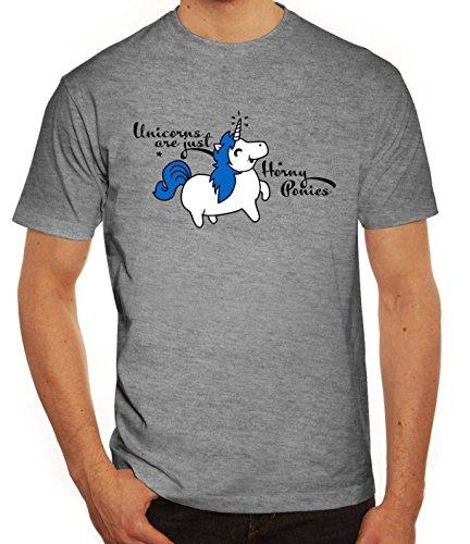 Unicorn Herren T-Shirt mit Horny Pony Motiv von ShirtStreet Graumeliert