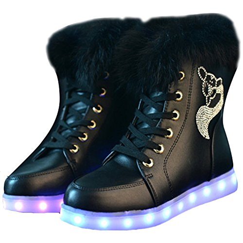 Oasap Femme Mode Boots USB Charger LED Lumineuse Strass Décoration white