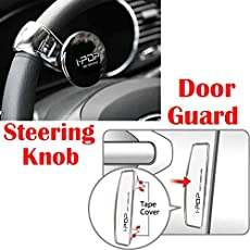 Riderscart I-Pop Car Steering Knob Door Guard with I-POP Car Door Guard with 3M Sticker for Maruti Baleno