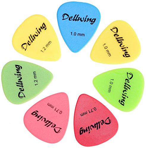 dellwing Picks & # x2605; 10Premium Plettri, plekta, Plettro per la chitarra & # x2605; chitarra acustica, chitarra da concerto, Chitarra Elettrica, Chitarra classica, basso, ukulele & # x2605; tenendo. Spessori e colori