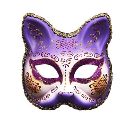 Ghost Muster Kostüm Face - ZSFKHGQD Kreative Karneval Maskerade Maske Erwachsene Half Face Party Cartoon Venedig Gemalte Maske Sexy Party Cosplay Festival Dress Up (Farbe : Lila)