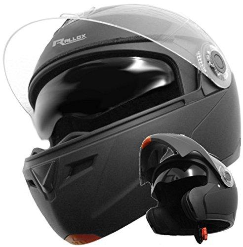 Klapphelm Integralhelm Helm Motorradhelm RALLOX 910 schwarz/matt mit Sonnenblende (XS, S, M, L, XL) Größe L