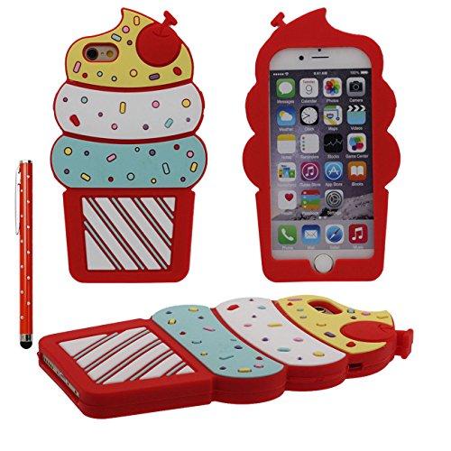 Weich Elastisch Slikon Gel Kreativ 3D Niedlich Hübsch Eiscreme Gestalten Serie Case Schutzhülle Hülle für Apple iPhone 6S Plus / 6 Plus 5.5 inch Mädchen Stil Cover mit 1 Stylus-Stift - Pink rot