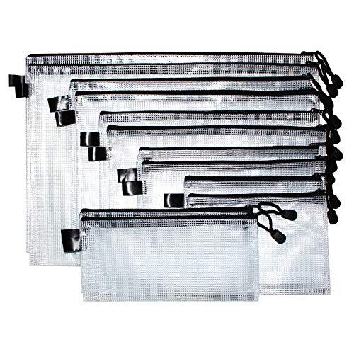 Dokumententasche (12 Stück) mit Reißverschluss in verschiedenen Größen- Reißverschlussbeutel mit Trageband ? Mehrzweck Beutel für Kosmetik, Reisezubehör, Ladekabel, Büro, Schule - Reißverschlusstasche