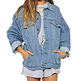 Damen stylischer Herbst Winter Jeansjacke Übergangsjacke Leichte Jacke Denim Casual Classics Vintage Elegant Lose Kurz Jacke Outwear von Innerternet
