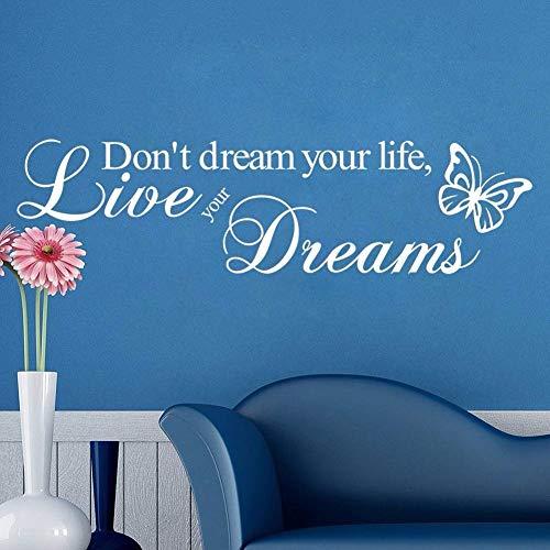 Leben Sie Ihre Träume Wallstickers Schmetterlinge Wandmalereien Wohnzimmer Dekorative Wohnkultur DIY Vinyl Aufkleber 4 110 * 29 cm (In Brasilien Leben)