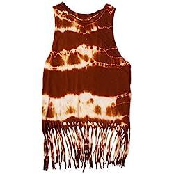 Bvendy - Camiseta sin mangas - camisa - Efecto teñido - Sin mangas - para mujer marrón Roya Parda 38