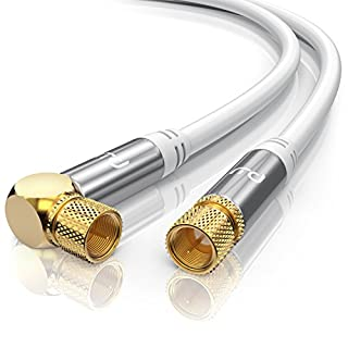 CSL - 10m 135dB HDTV Satellitenkabel 75 Ohm (90° gewinkelt) | Premium SAT Koaxialkabel | DVB-S, DVB-S2 und Kabelinternet | robuste Vollmetallstecker | Abschirmmaß 135db | hochdichte 4-Fach Schirmung