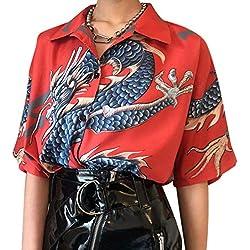Camisas De Verano para Mujer con Estampado De Dragón Manga Corta, Camisa Holgada De Calle, Ropa De Moda para Mujer