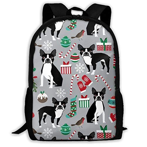 Boston-Terrier-Weihnachtsstoff-Nette Weihnachtsferien-Hunde entwerfen Reise-Laptop-Rucksack, besonders großen College-Studentenrucksack für Männer und Frauen (klassischer Rucksack)