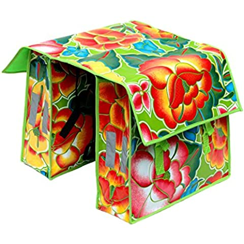 Alforjas - bolsa de bicicleta - alforja trasera para portaequipajes, hecho a mano, impermeable, vintage pattern, modelo Tehuana verde